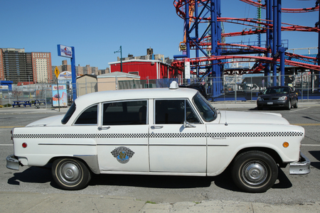 checker: BROOKLYN, NY - MARCH 29, 2016: Checker Marathon taxi car produced by the Checker Motors Corporation. The Checker remains the most famous taxi cab vehicle in the United States