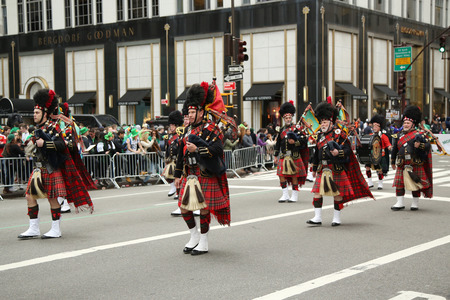 st  patrick s day: NEW YORK - MARCH 17, 2016: Amityville Highland Pipe Band marching at the St. Patrick s Day Parade in New York. Editorial