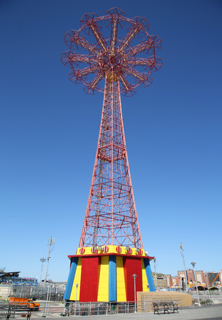 parachute jump: BROOKLYN, NEW YORK - MARCH 29, 2016: Parachute jump tower - famous Coney Island landmark in Brooklyn. It has been called the Eiffel Tower of Brooklyn