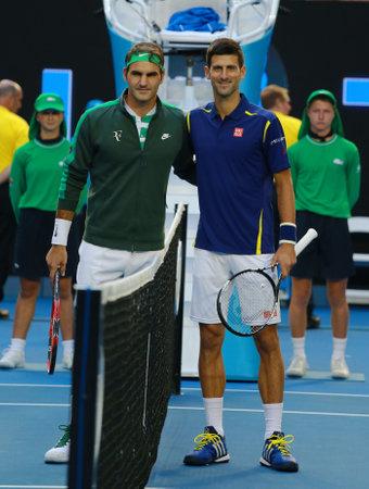 grand slam: MELBOURNE, AUSTRALIA - JANUARY 28, 2016: Grand Slam champions Roger Federer of Switzerland (L) and Novak Djokovic of Serbia before semifinal match at Australian Open 2016 in Melbourne Park