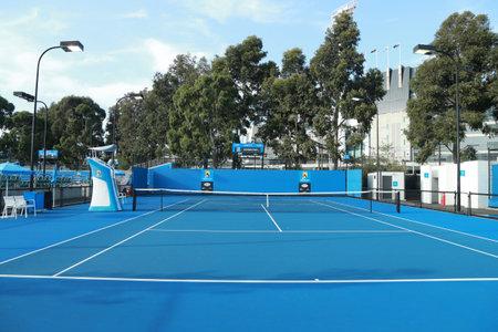 center court: MELBOURNE, AUSTRALIA - JANUARY 28, 2016: Tennis court at Australian tennis center in Melbourne Park. The Australian Open is a major tennis tournament held annually in January in Melbourne, Australia