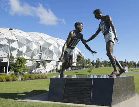 sportsmanship: MELBOURNE, AUSTRALIA - JANUARY 24, 2016: Sportsmanship statue in the front of the Melbourne Rectangular Stadium, also known as AAMI Park in Melbourne Australia. Editorial