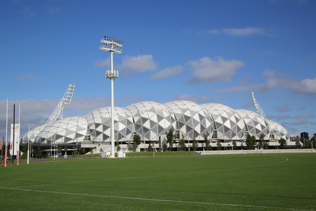 grand slam: MELBOURNE, AUSTRALIA - JANUARY 23, 2016:The Melbourne Rectangular Stadium, also known as AAMI Park in Melbourne Australia. Melbournes first large purpose-built rectangular stadium was built in 2010.