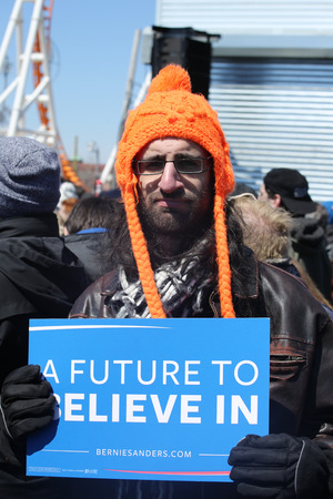 democrat party: NEW YORK - APRIL 10, 2016:Bernie Sanders supporter during presidential candidate Bernie Sanders rally  at iconic Coney Island boardwalk in Brooklyn, New York