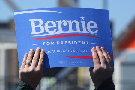 legislator: NEW YORK - APRIL 10, 2016: A sign in support of presidential candidate Bernie Sanders during Bernie Sanders rally at Coney Island in Brooklyn, New York