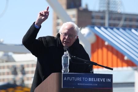 legislator: NEW YORK - APRIL 10, 2016:Presidential candidate Bernie Sanders speaks during rally at iconic Coney Island boardwalk in Brooklyn, New York Editorial