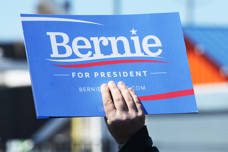 legislator: NEW YORK - APRIL 10, 2016: A sign in support of presidential candidate Bernie Sanders during Bernie Sanders rally at Coney Island in Brooklyn, New York