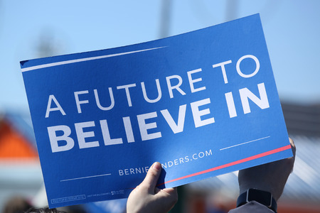 senate elections: NEW YORK - APRIL 10, 2016: A sign in support of presidential candidate Bernie Sanders during Bernie Sanders rally at Coney Island in Brooklyn, New York