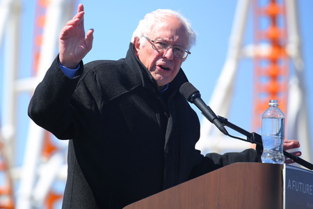 coney: NEW YORK - APRIL 10, 2016:Presidential candidate Bernie Sanders speaks during rally at iconic Coney Island boardwalk in Brooklyn, New York Editorial