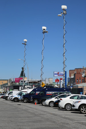 liberal: NEW YORK - APRIL 10, 2016: Numerous TV stations covers presidential candidate Bernie Sanders rally at iconic Coney Island boardwalk in Brooklyn, New York Editorial