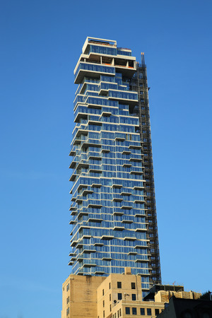 leonard: NEW YORK - APRIL 17, 2016: Nearly completed 60-story building a k a the Jenga Tower at 56 Leonard Street in Tribeca, Lower Manhattan. Editorial