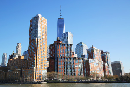 NEW YORK - APRIL 17, 2016: Lower Manhattan skyline panorama. Freedom Tower is the tallest building in the Western Hemisphere and the third-tallest building in the world Stock fotó - 55335036