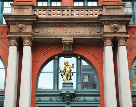 wagner: NEW YORK - MARCH 10, 2016: Historic Puck Building with gilded statue of Shakespeare s character Puck at Wagner Graduate School of Public Service in Lower Manhattan Editorial
