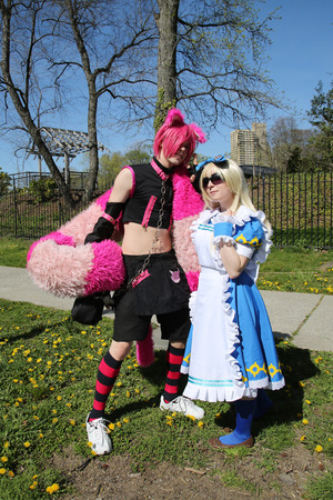 BROOKLYN, NEW YORK- MARCH 19, 2016: Couple dressed in Japanese anime style in Brooklyn, New York