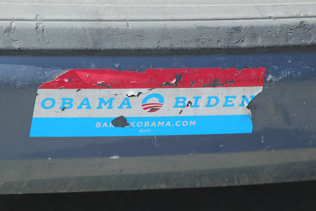 NEW YORK- MARCH 19, 2016: Old presidential election 2008 Obama Biden bumper sticker Editorial