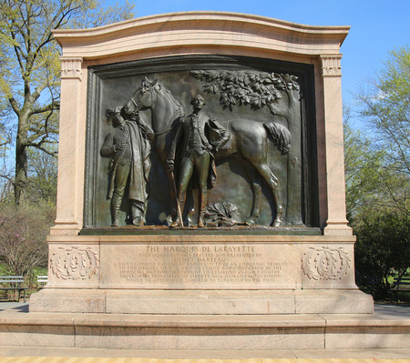american revolution: BROOKLYN, NY - MARCH 19, 2016:Bronze sculpture depicts the Marquis de Lafayette at Prospect Park in Brooklyn. The French-born general fought on behalf of American rebels during the American Revolution