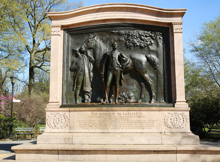 rebels: BROOKLYN, NY - MARCH 19, 2016:Bronze sculpture depicts the Marquis de Lafayette at Prospect Park in Brooklyn. The French-born general fought on behalf of American rebels during the American Revolution