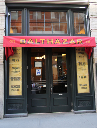 balthazar: NEW YORK - APRIL 24, 2016: Famous Balthazar french restaurant in Soho in New York City