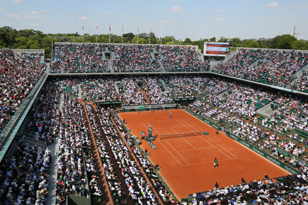 PARIS, FRANCE- MAY 29, 2015: Court Philippe Chatrier at Le Stade Roland Garros during Roland Garros 2015 match in Paris, France Editorial