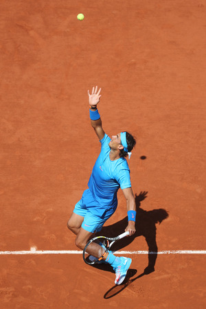 nadal: PARIS, FRANCE- MAY 30, 2015:Fourteen times Grand Slam champion Rafael Nadal in action during his third round match at Roland Garros 2015 in Paris, France