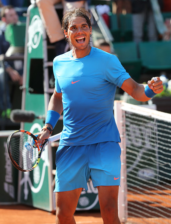 nadal: PARIS, FRANCE- MAY 30, 2015:Fourteen times Grand Slam champion Rafael Nadal celebrates victory after his third round match at Roland Garros 2015 in Paris, France