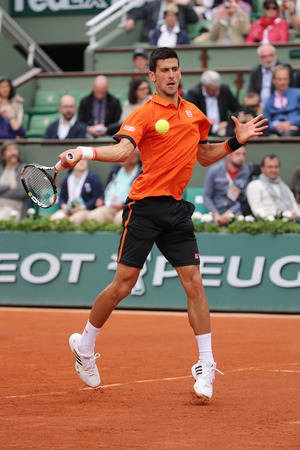 serb: PARIS, FRANCE- MAY 26, 2015: Eight times Grand Slam champion Novak Djokovic during his first round match at Roland Garros 2015 in Paris, France Editorial