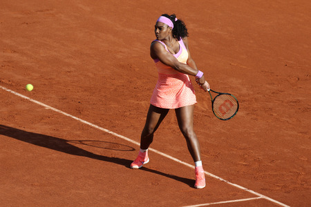 williams: PARIS, FRANCE- MAY 30, 2015: Nineteen times Grand Slam champion Serena Williams in action during her third round match at Roland Garros 2015 in Paris, France