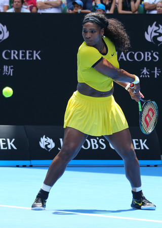 williams: MELBOURNE, AUSTRALIA - JANUARY 26, 2016: Twenty one times Grand Slam champion Serena Williams in action during her quarter final match at Australian Open 2016 at Australian tennis center in Melbourne Editorial