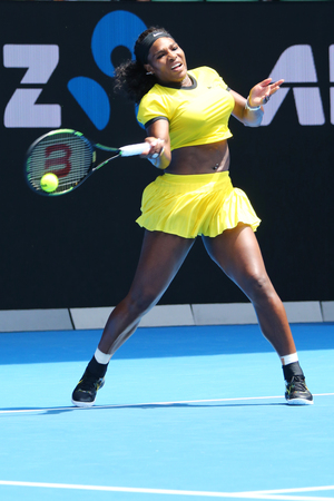 twenty one: MELBOURNE, AUSTRALIA - JANUARY 26, 2016: Twenty one times Grand Slam champion Serena Williams in action during her quarter final match at Australian Open 2016 at Australian tennis center in Melbourne Editorial