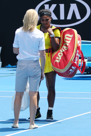racket stadium: MELBOURNE, AUSTRALIA - JANUARY 26, 2016: Twenty one times Grand Slam champion Serena Williams during interview after her quarter final match at Australian Open 2016 in Melbourne Park