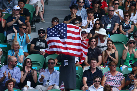 grand slam: MELBOURNE, AUSTRALIA - JANUARY 26, 2016: American tennis fans supporting  Grand Slam champion Serena Williams during her quarter final match at Australian Open 2016 in Melbourne Park