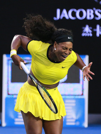 twenty one: MELBOURNE, AUSTRALIA - JANUARY 30, 2016: Twenty one times Grand Slam champion Serena Williams in action during her final match at Australian Open 2016 at Australian tennis center in Melbourne Park Editorial