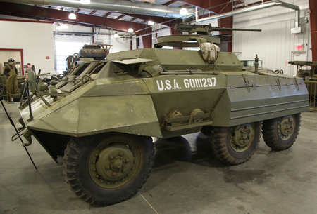 armored car: BETHPAGE, NEW YORK - APRIL 7, 2016: M20 Greyhound armored car at the Museum of American Armor in Bethpage, NY