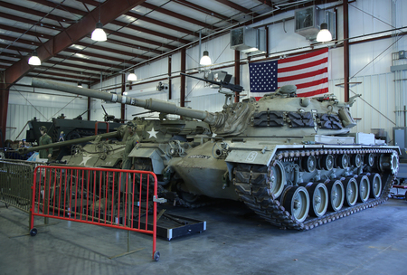 firepower: BETHPAGE, NEW YORK - APRIL 10, 2016: Exhibits at the Museum of American Armor in Bethpage, NY Editorial