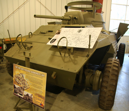 armored car: BETHPAGE, NEW YORK - APRIL 7, 2016: M8 Greyhound armored car at the Museum of American Armor in Bethpage, NY