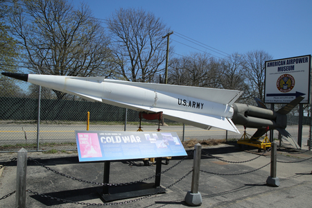 airpower: FARMINGDALE, NEW YORK - APRIL 14, 2016: Cold war era Nike missile on display at the  American Airpower Museum in Farmingdale,  New York.