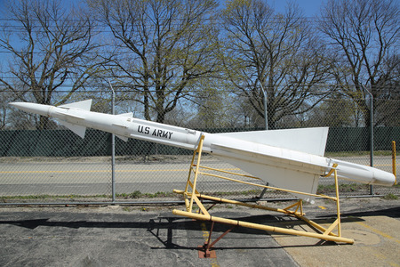 airpower: FARMINGDALE, NEW YORK - APRIL 14, 2016: Cold war era missile on display at the  American Airpower Museum in Farmingdale,  New York.