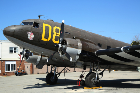 airpower: FARMINGDALE, NEW YORK - APRIL 14, 2016: Douglas C-47 Skytrain on display at the American Airpower Museum in Farmingdale,  New York. Editorial