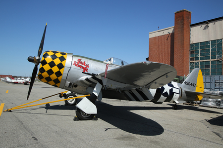 airpower: FARMINGDALE, NEW YORK - APRIL 14, 2016: Republic P-47 Thunderbolt on display at the American Airpower Museum in Farmingdale,  New York.