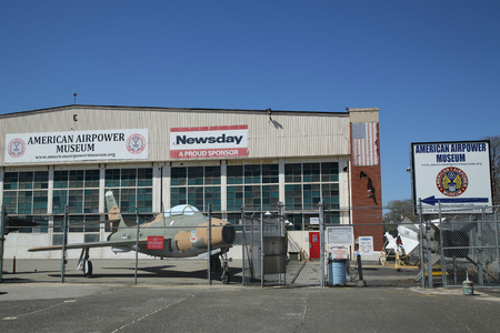 airpower: FARMINGDALE, NEW YORK - APRIL 14, 2016: American Airpower Museum in Farmingdale,  New York. It is an aviation museum located on the former site of Republic Aviation at Republic Airport in Farmingdale