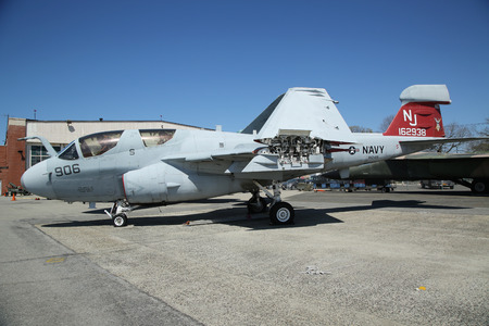 airpower: FARMINGDALE, NEW YORK - APRIL 14, 2016: Grumman EA-6B Prowler on display at the American Airpower Museum in Farmingdale,  New York.