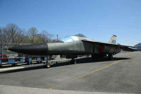 airpower: FARMINGDALE, NEW YORK - APRIL 14, 2016: General Dynamics F-111 Ardvark on display at the American Airpower Museum in Farmingdale,  New York. Editorial