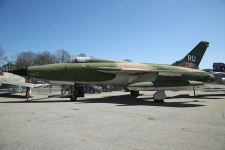 airpower: FARMINGDALE, NEW YORK - APRIL 14, 2016: Republic F-105 Thunderchief on display at the American Airpower Museum in Farmingdale,  New York. Editorial