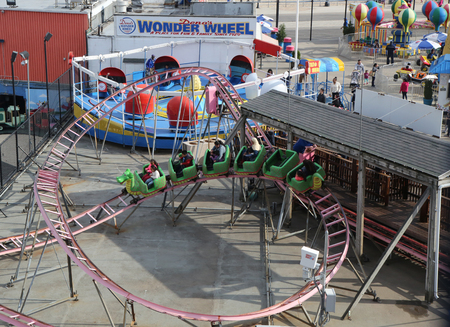 LUNA: BROOKLYN, NEW YORK - MAY 14, 2016: Aerial view of the Coney Island Luna Park. Coney Island Luna Park was destroyed by fire in 1944, then reopened in 2010