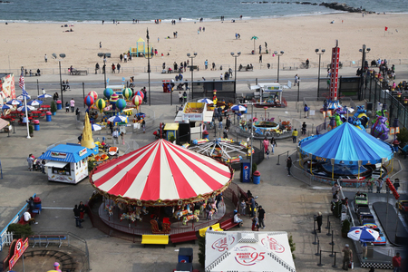 coney: BROOKLYN, NEW YORK - MAY 14, 2016: Aerial view of the Coney Island Luna Park. Coney Island Luna Park was destroyed by fire in 1944, then reopened in 2010