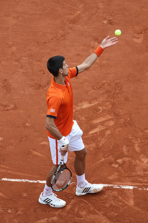 grand slam: PARIS, FRANCE- MAY 28, 2015: Eight times Grand Slam champion Novak Djokovic in action during his second round match at Roland Garros 2015 in Paris, France