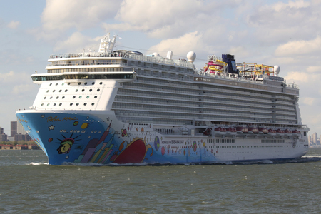newest: NEW YORK - MAY 15, 2016: Norwegian Breakaway Cruise Ship leaving New York harbor. Norwegian Cruise Line Ship is the worlds eighth largest cruise ship start voyages on May 12, 2013