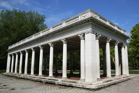 grecian: BROOKLYN, NEW YORK - MAY 19, 2016: Grecian Shelter built in 1905 in Brooklyn, NY. It is peristyle with Corinthian columns near the southern edge of Prospect Park in Brooklyn.