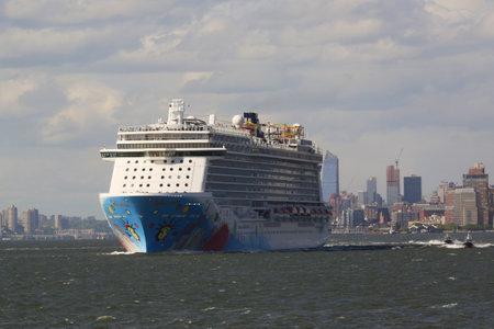 breakaway: NEW YORK - MAY 15, 2016: Norwegian Breakaway Cruise Ship leaving New York harbor. Norwegian Cruise Line Ship is the worlds eighth largest cruise ship start voyages on May 12, 2013