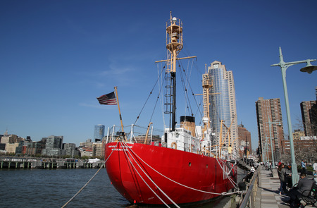 navigational light: NEW YORK - APRIL 17, 2016: Nantucket Lightship docked in Lower Manhattan. The Lightship Nantucket or Nantucket Shoals was the name given to the light vessel that marked the hazardous Nantucket Shoals